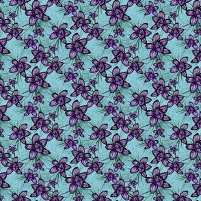 Purple on Blue Orchids
