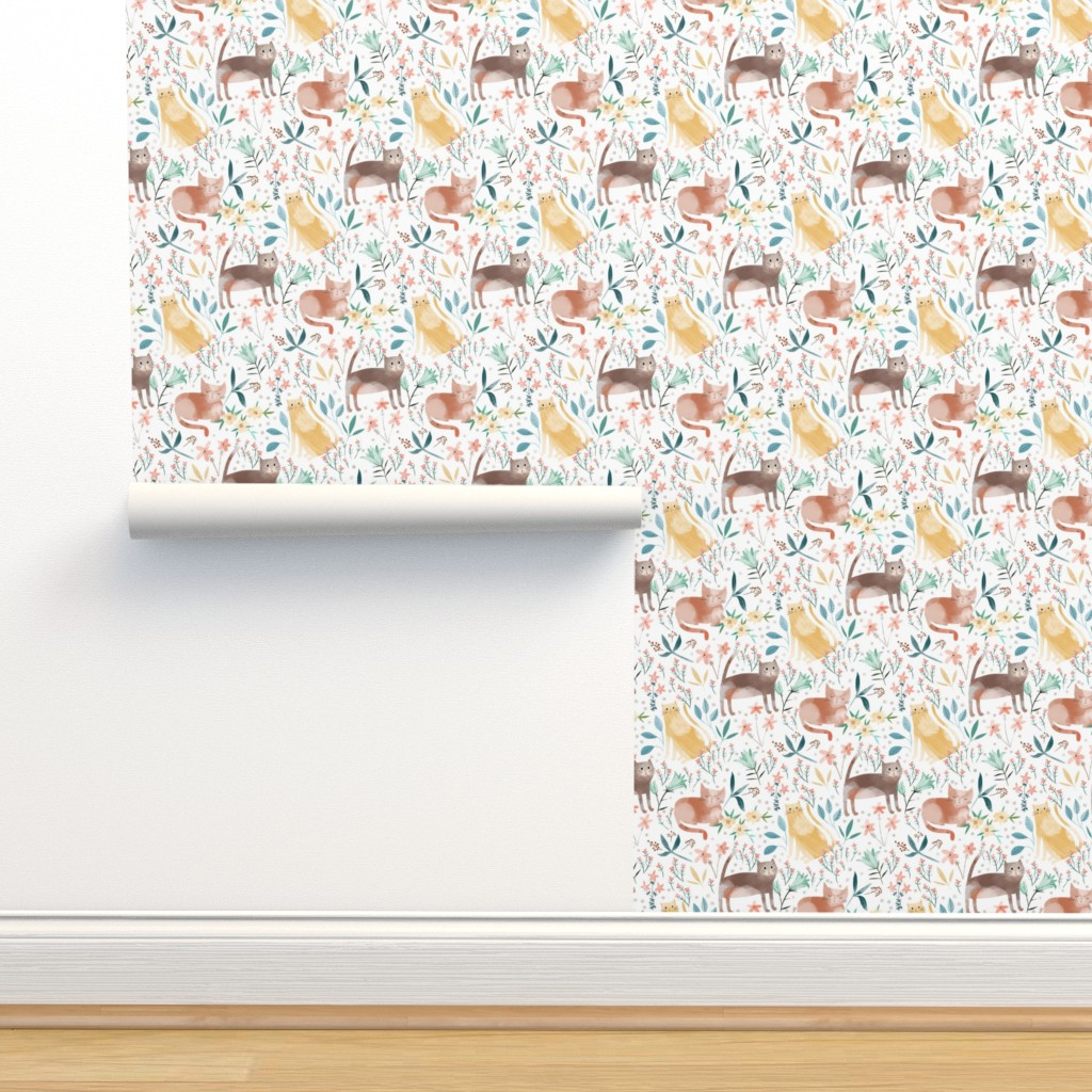 Isobar Durable Wallpaper featuring Cats in the Ditsy Garden by michele_norris