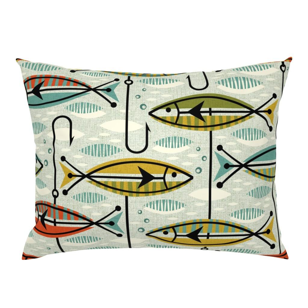 Campine Pillow Sham featuring Retro Color Block Fish by studioxtine
