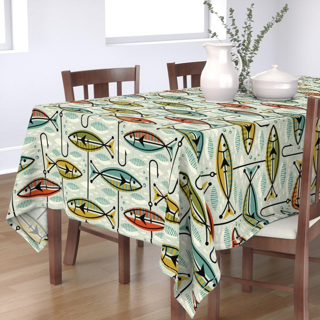 Bantam Rectangular Tablecloth featuring Retro Color Block Fish by studioxtine