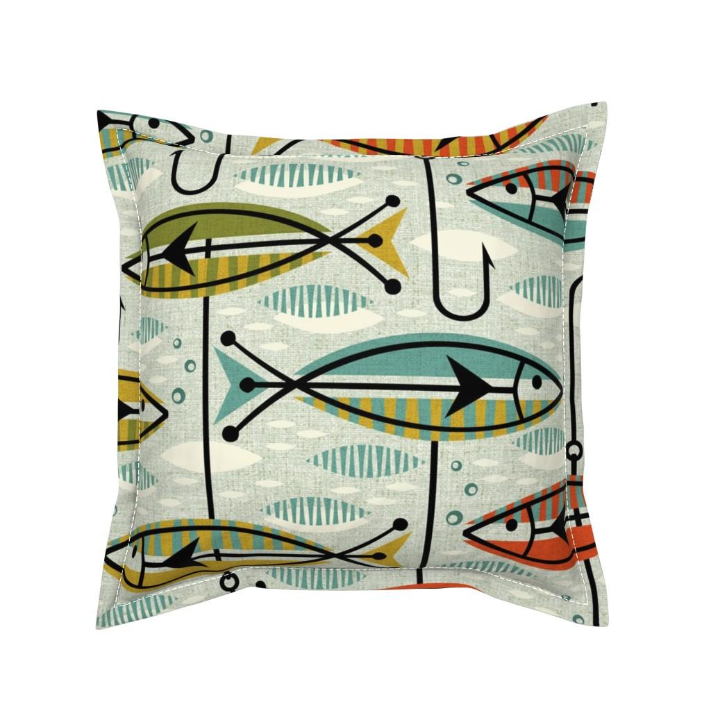 Serama Throw Pillow featuring Retro Color Block Fish by studioxtine