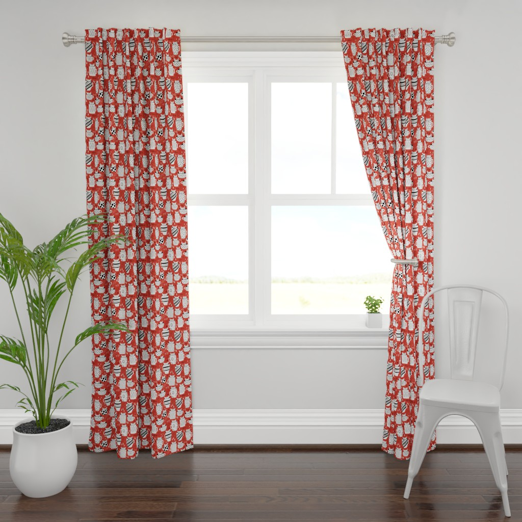 Plymouth Curtain Panel featuring Kitty Cat Cups by arthousewife
