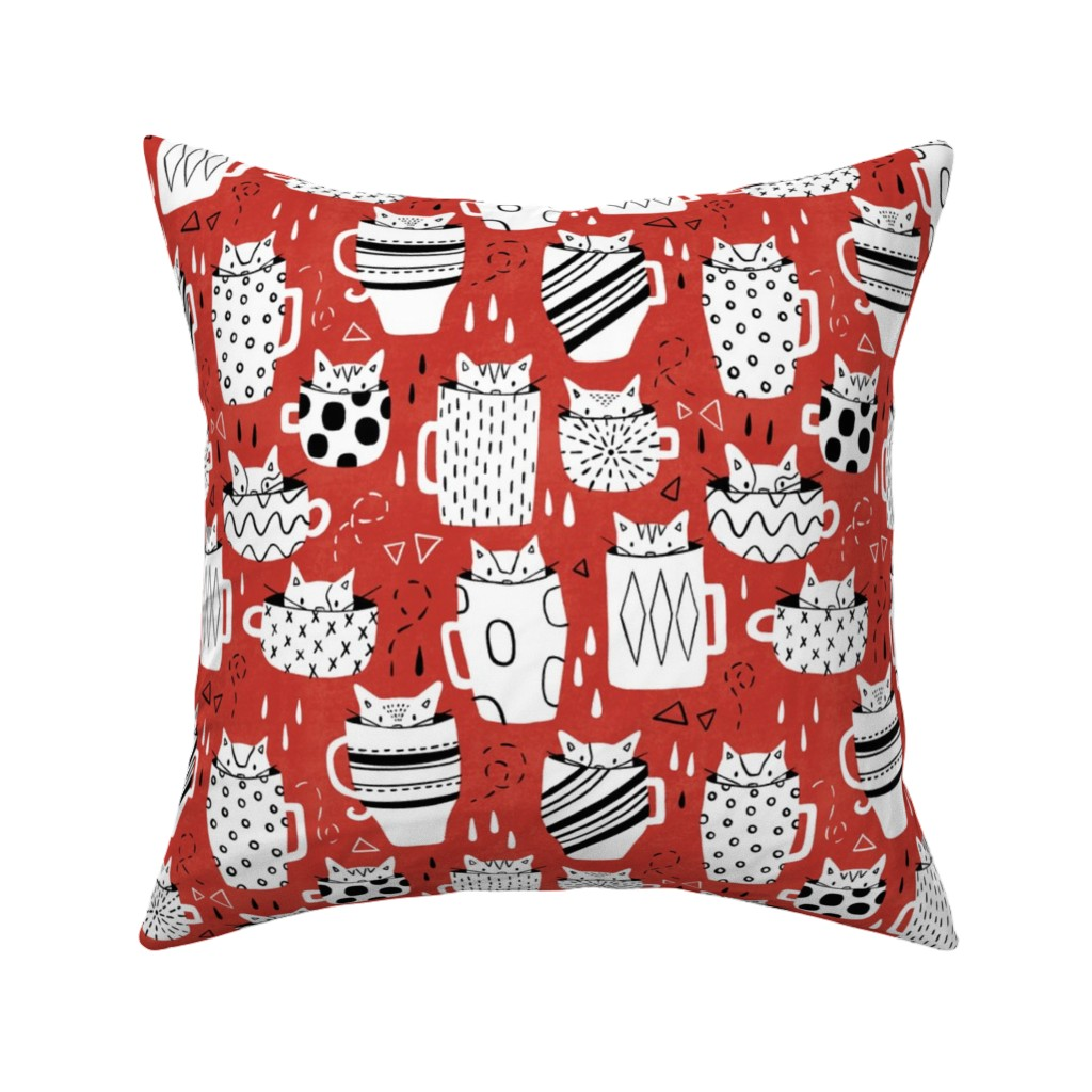 Catalan Throw Pillow featuring Kitty Cat Cups by arthousewife