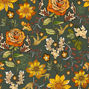 William Morris inspired, boho, green, roses, florals, vintage style