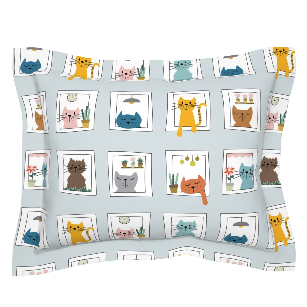 Sebright Pillow Sham featuring Cats in the Window by twigged