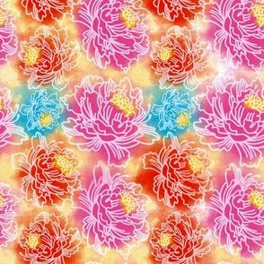 Watercolor Abstract Bright Floral Fantasy