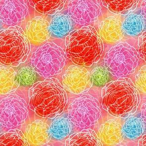 Glowing Garden Rainbow Watercolor Floral