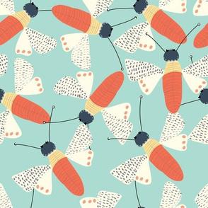 Moths on Teal