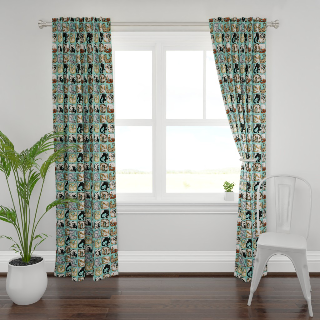 Plymouth Curtain Panel featuring Cat Squares by Artfulfreddy by artfulfreddy