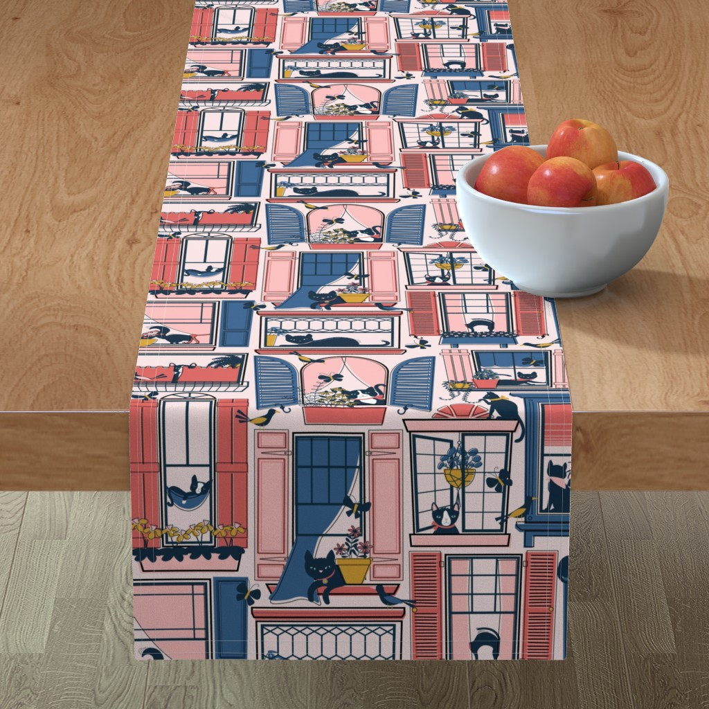 Minorca Table Runner featuring Urban Jungle Cat by nanshizzle