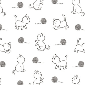 Seamless vector pattern with cats on white background. Simple animal line art wallpaper design. Cute kitten fashion textile.