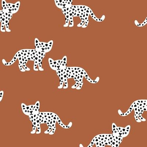 The minimal leopard baby wild cats gender neutral winter kids design copper rusty neutral
