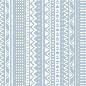 Minimal zigzag mudcloth bohemian mayan abstract indian summer love aztec design dusty soft blue white vertical stripes