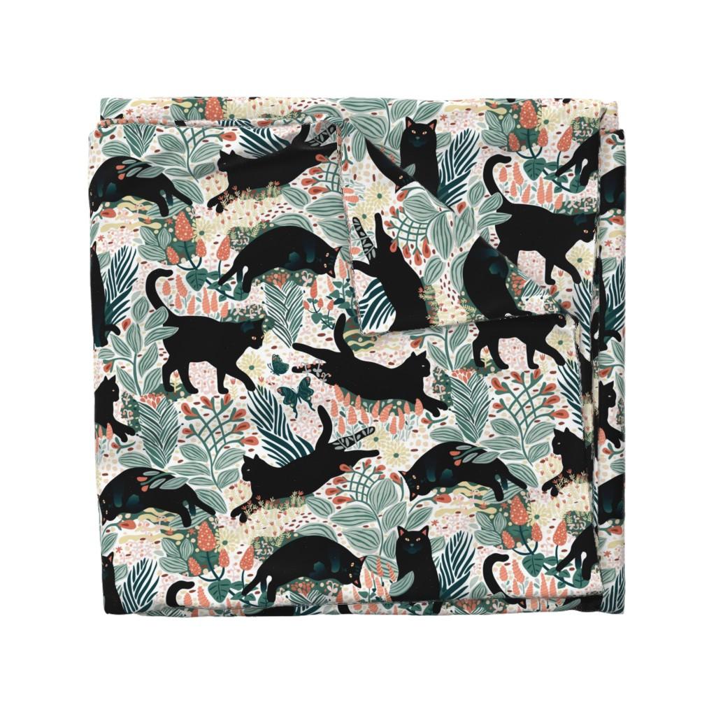 Wyandotte Duvet Cover featuring Black cat in the butterfly garden by boszorka