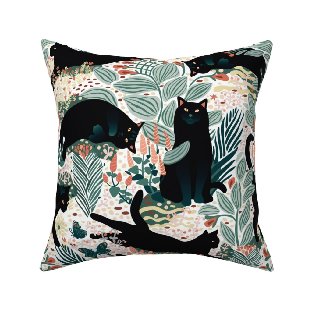 Catalan Throw Pillow featuring Black cat in the butterfly garden by boszorka