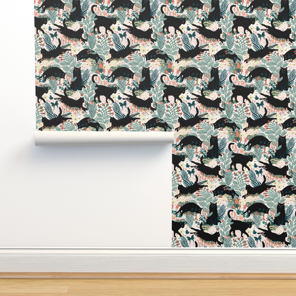Isobar Durable Wallpaper featuring Black cat in the butterfly garden by boszorka