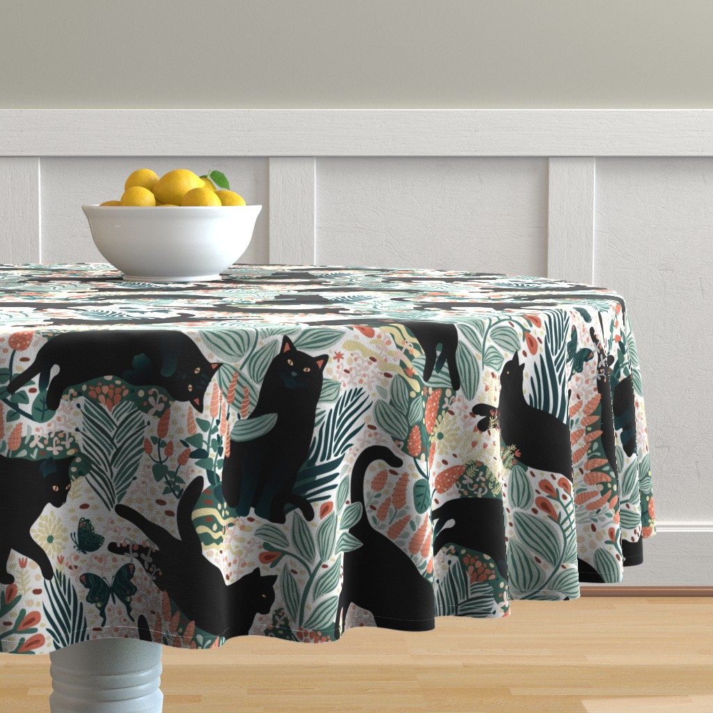 Malay Round Tablecloth featuring Black cat in the butterfly garden by boszorka