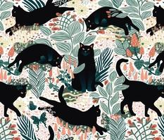 Black cat in the butterfly garden
