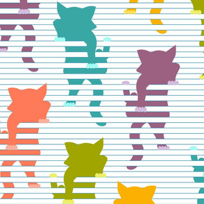 cats in blinds - white