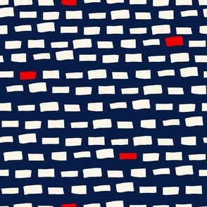 Dashes - Navy, White & Red