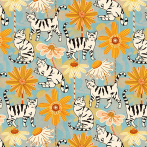 Daisy Cats - Baby Blue (Large Version)