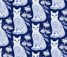 Fancy Feline Blue and White