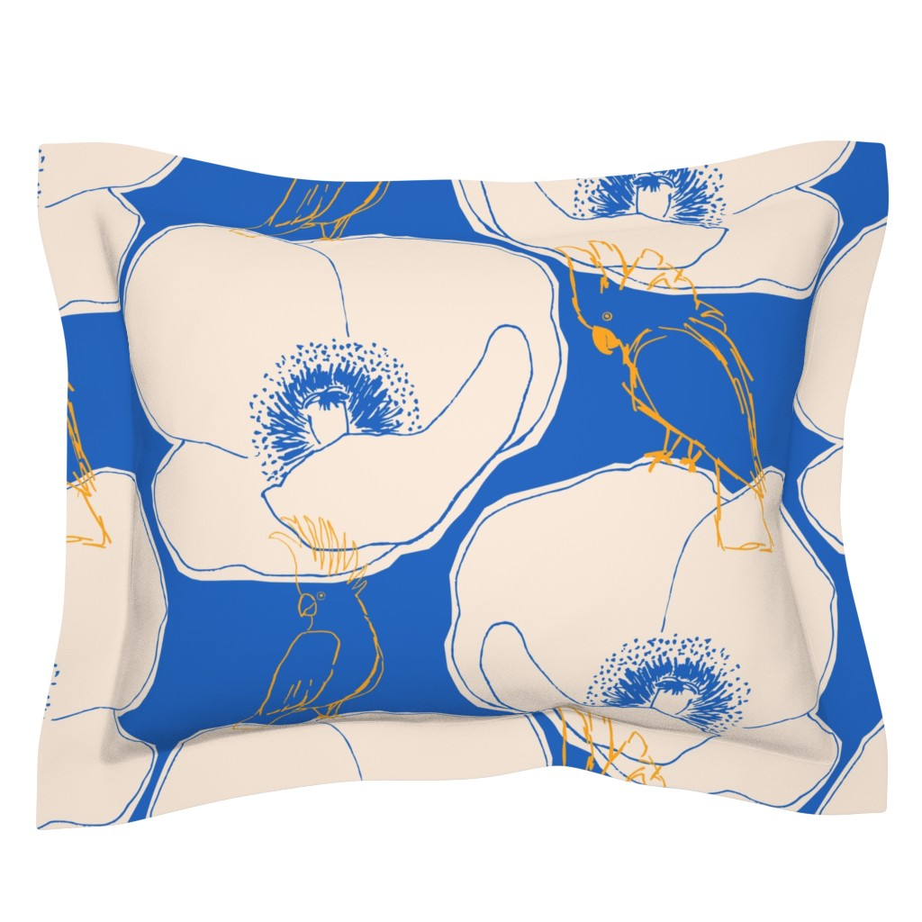 Sebright Pillow Sham featuring cockatoo on poppy by juliaschumacher