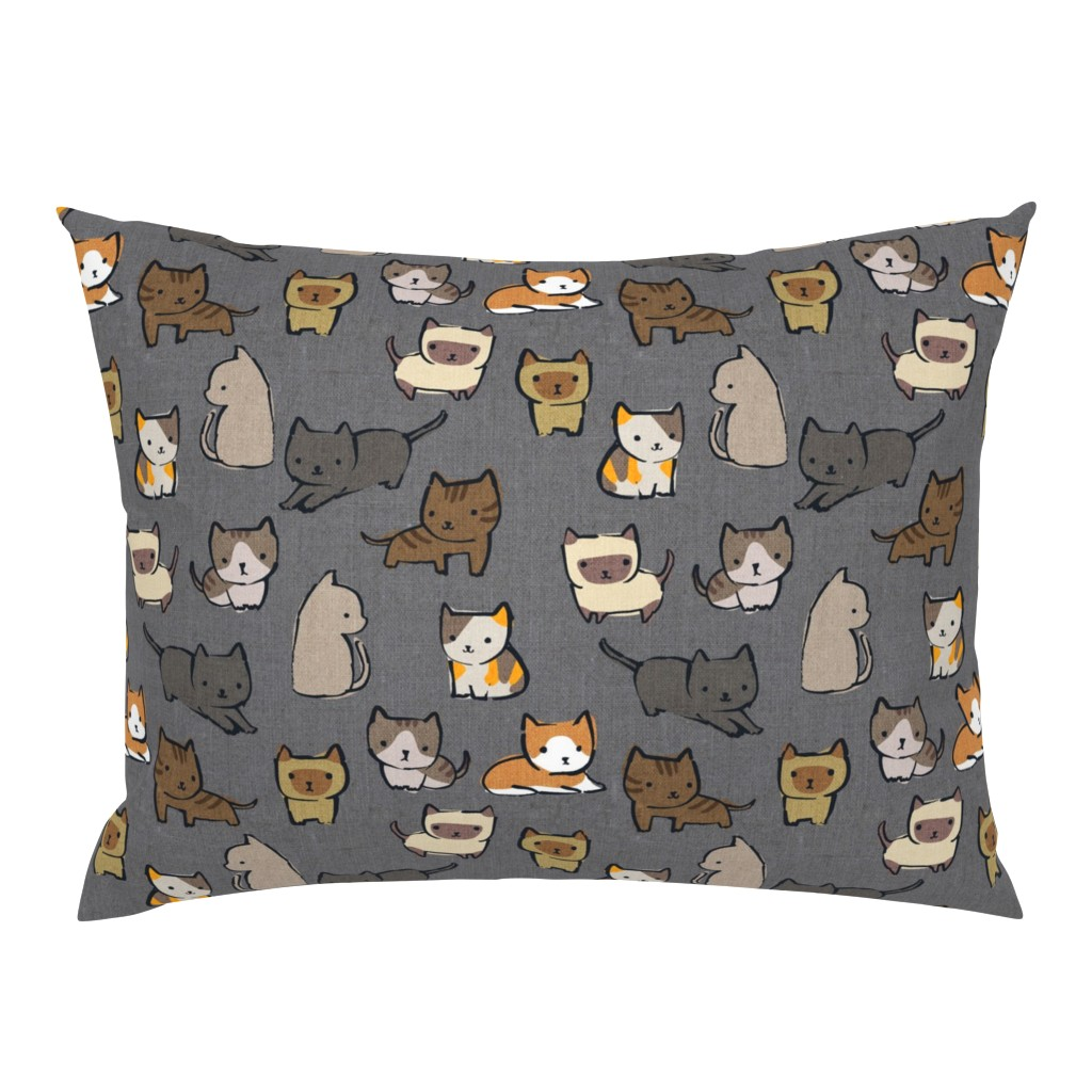 Campine Pillow Sham featuring Cats {Charcoal} by ceciliamok