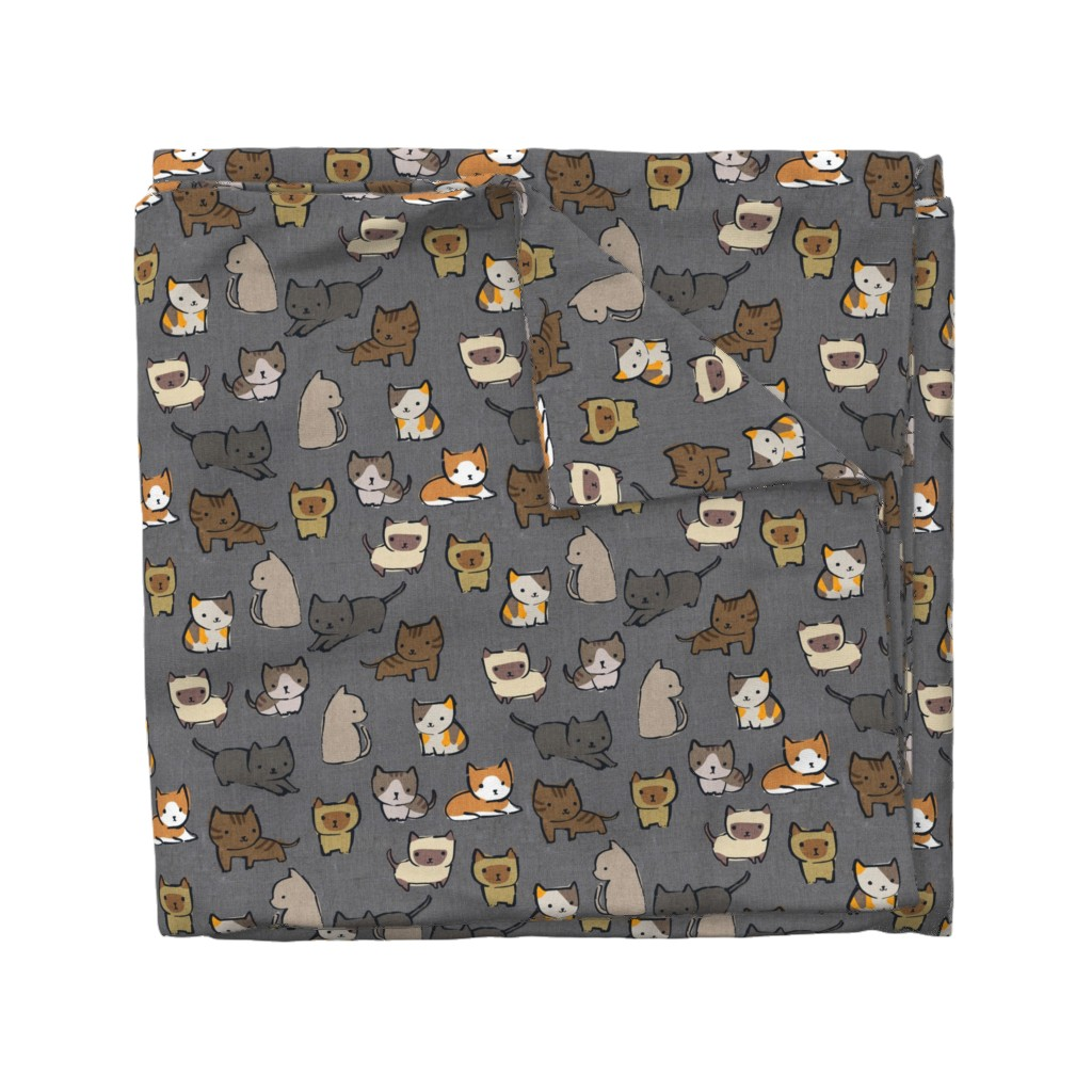 Wyandotte Duvet Cover featuring Cats {Charcoal} by ceciliamok