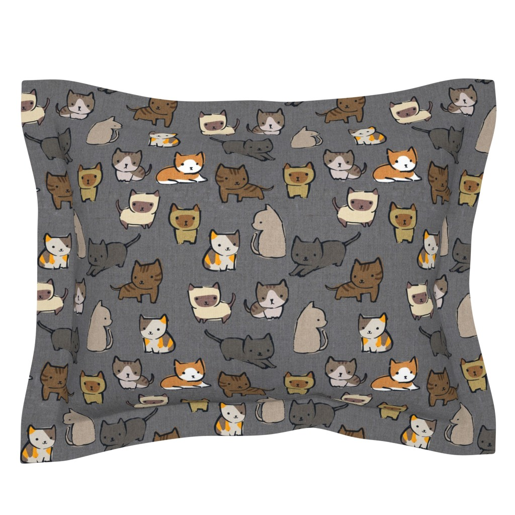 Sebright Pillow Sham featuring Cats {Charcoal} by ceciliamok