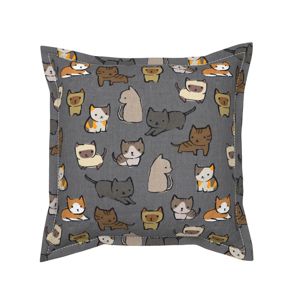 Serama Throw Pillow featuring Cats {Charcoal} by ceciliamok