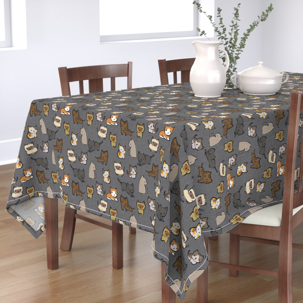 Bantam Rectangular Tablecloth featuring Cats {Charcoal} by ceciliamok
