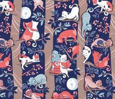 Normal scale // Cats forest // blue background brown trees grey white and orange kitties