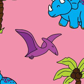 Pink Dinosaur hand drawn pattern