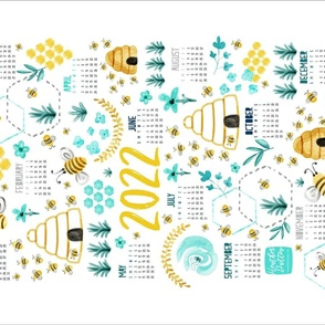 2021 Calendar Tea Towel - Busy Bees