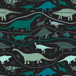Dinosaur Strata: Greens on Black  (medium scale)