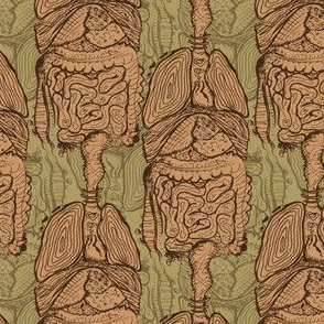 Anatomical Guts Damask - Original Drawing