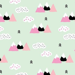 Girls fuji mountain geometric climbing girls landscape with soft pastel colors mint pink and white clouds