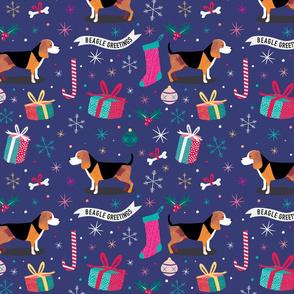 Beagle christmas fabric blue