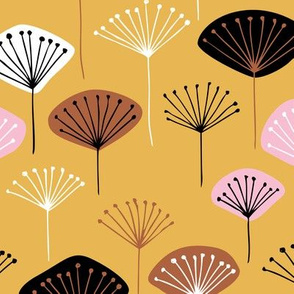 Little Dandelion poppy flowers japanese inspired blossom fall  pink yellow copper
