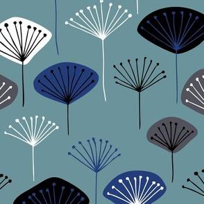 Little Dandelion poppy flowers japanese inspired blossom fall  stone blue navy
