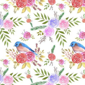 Eastern bluebird or Sialia sialis on seamless rose pattern watercolor