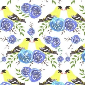 American goldfinches on rose twigs- seamless flowers and yellow birds