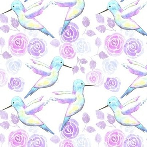 Hummingbirds and lilac roses- birds and roses seamless watercolor birds painting