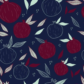 Pomegranates in Navy and Deep Red