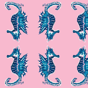 Blue Seahorses on Pink