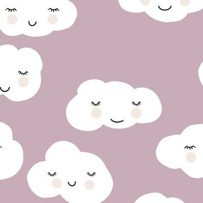 Sweet puffy clouds kawaii sky smiling sleepy cloud in fall lilac mauve white