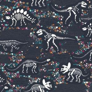 Dinosaur Fossils - Charcoal - Medium