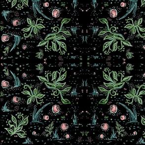 Black Crazy Floral