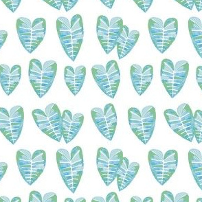 watercolor-taro-leaf-pattern- blue